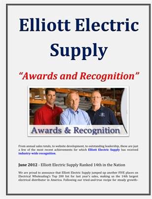 Elliott Electric Supply: Awards and Recognition
