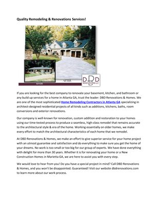 Quality Remodeling & Renovations Services!