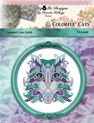 Colorful Cats Mermaid Counted Cross Stitch Pattern