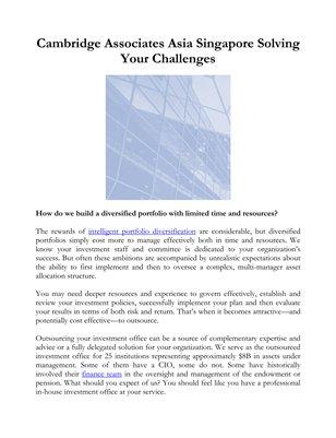 Cambridge Associates Asia Singapore Solving Your Challenges