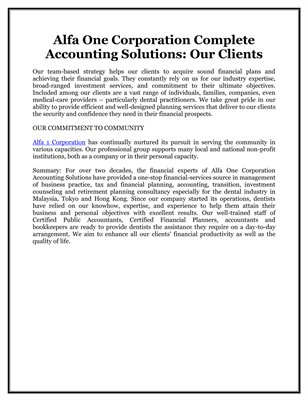 Alfa One Corporation Complete Accounting Solutions: Our Clients