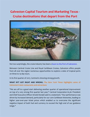 Galveston Capital Tourism and Marketing Texas - Cruise destinations that depart from the Port