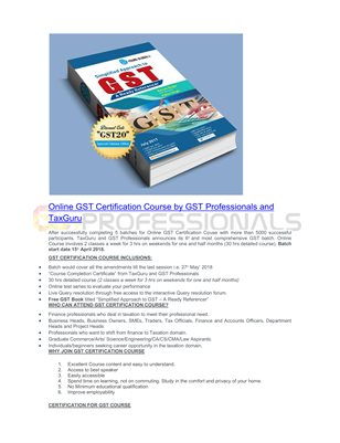 Online GST certification course by gst professionals
