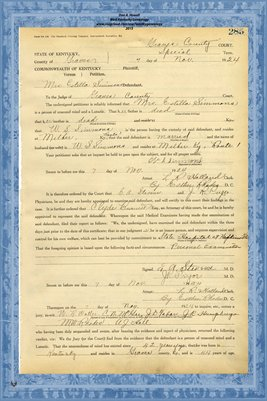 1924 State of Kentucky vs. Estella Simmons, Graves County, Kentucky