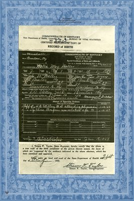 Willie May Waller 1897 Birth Certificate, Marshall County, Kentucky