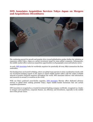 DFS Associates Acquisition Services Tokyo Japan on Mergers and Acquisitions: Divestitures