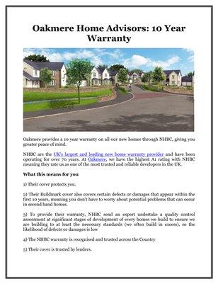 Oakmere Home Advisors: 10 Year Warranty