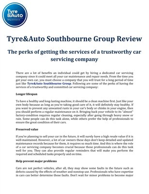 Tyre&Auto Southbourne Group Review: The perks of getting the services of a trustworthy car servicing company