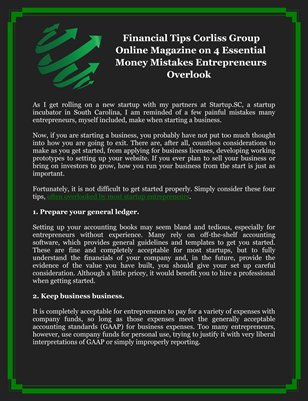 Financial Tips Corliss Group Online Magazine on 4 Essential Money Mistakes Entrepreneurs Overlook