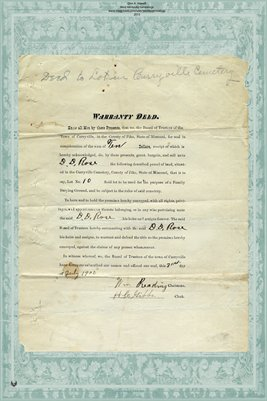 1900 Warranty Deed, D.D. Rose, Deed to Lot in Curryville Cemetery, Pike County, Missouri