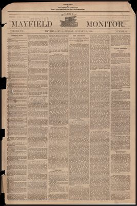 (PAGES 1-2  )  JANUARY 21, 1882 MAYFIELD MONITOR NEWSPAPER, MAYFIELD, GRAVES COUNTY, KENTUCKY