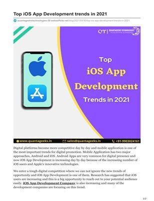 Top iOS App Development trends in 2021