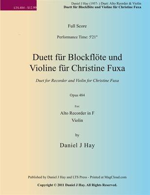 Duett für Blockflöte und Violine für Christine Fuxa
