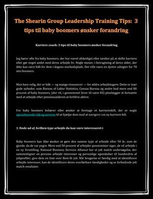 The Shearin Group Leadership Training Tips: 3 tips til baby boomers ønsker forandring