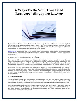 6 Ways To Do Your Own Debt Recovery - Singapore Lawyer