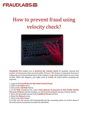 How to prevent fraud using velocity check?