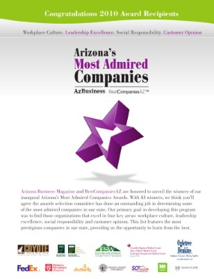 Arizona's Most Admired Companies November-December 2010