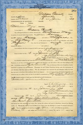 1924 State of Kentucky vs. William May, Graves County, Kentucky