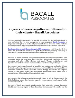 21 years of never-say-die commitment to their clients - Bacall Associates