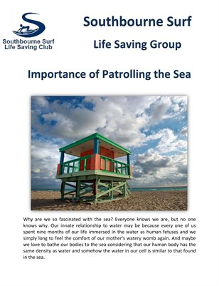 Southbourne Surf Life Saving Group: Importance of Patrolling the Sea