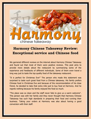 Harmony Chinese Takeaway Review: Exceptional service and Chinese food