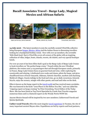 Bacall Associates Travel - Barge Lady, Magical Mexico and African Safaris