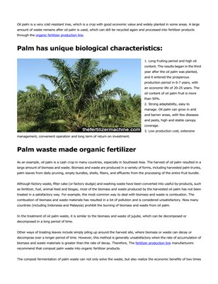 The value of oil palm waste as organic fertilizer