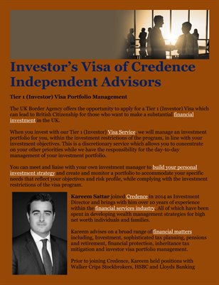 Investor's Visa of Credence Independent Advisors