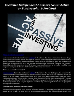 Credence Independent Advisors News: Active or Passive what's For You?