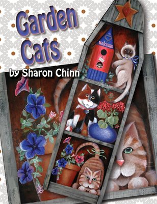 Garden Cats Ironing Board Painting Pattern by Sharon Chinn