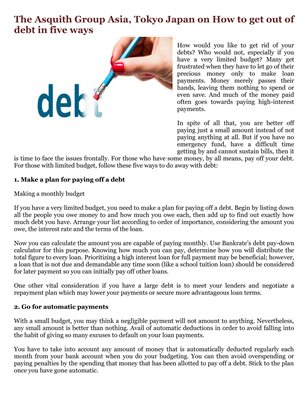 The Asquith Group Asia, Tokyo Japan on How to get out of debt in five ways