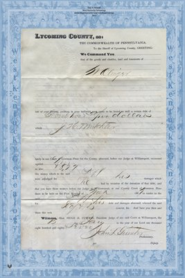 1887 Olinger vs. Muchler, Lycoming County, Pennsylvania