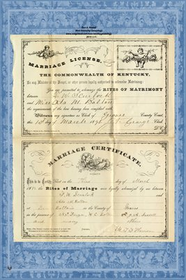 1892 Marriage License and Certificate for F.W. Scurlock & Ada M. Bolton , Graves County, Kentucky