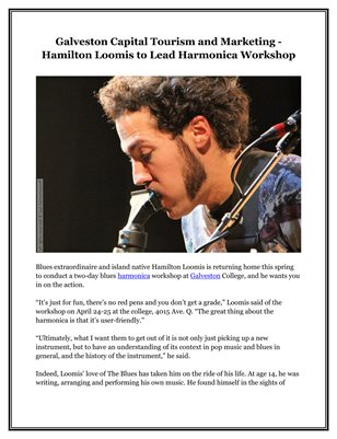 Galveston Capital Tourism and Marketing - Hamilton Loomis to Lead Harmonica Workshop