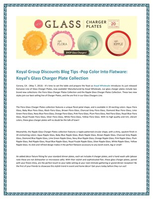 Koyal Group Discounts Blog Tips -Pop Color Into Flatware: Koyal's Glass Charger Plate Collection