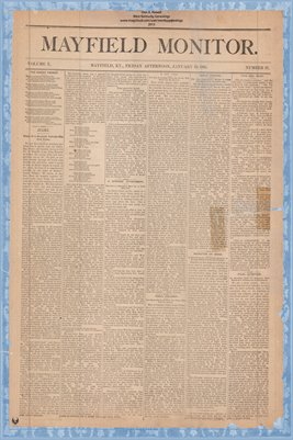 (PAGES 1-2) Mayfield Monitor, Jan. 23, 1885, Graves County, Kentucky