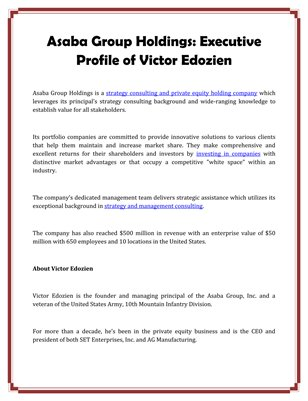 Asaba Group Holdings: Executive Profile of Victor Edozien