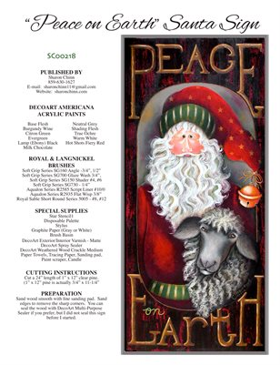 Peace on Earth Santa Sign by Sharon Chinn SC00218