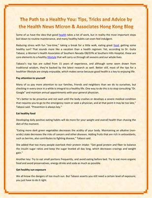 The Path to a Healthy You: Tips, Tricks and Advice by the Health News Micron & Associates Hong Kong Blog