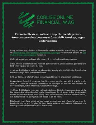 Financial Review Corliss Group Online Magazine: Amerikanerna har begransat finansiellt kunskap, sager undersokning