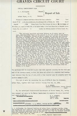 1934 COMMISSIONERS REPORT OF SALES, J.J. DILLINGHAM vs. ARTHUR PRYOR