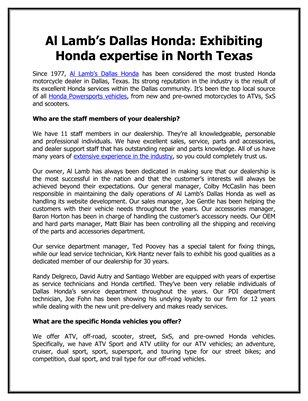 Al Lamb's Dallas Honda: Exhibiting Honda expertise in North Texas