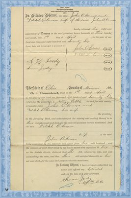 (PAGES 3-4) 1876 Deed, O'Coners to O'Coners, Miami County, Ohio