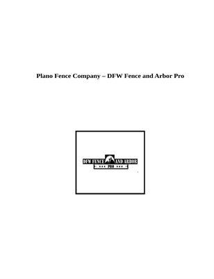 Fence Company In Plano, Texas