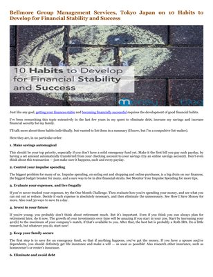 Bellmore Group Management Services, Tokyo Japan on 10 Habits to Develop for Financial Stability and Success