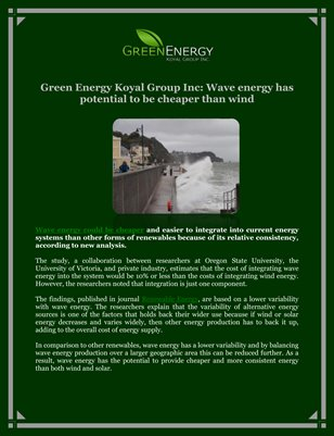 Green Energy Koyal Group Inc: Wave energy has potential to be cheaper than wind