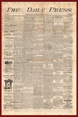 (PAGES 1-2) JUNE 12, 1875 THE DAILY PRESS NEWSPAPER, ADRIAN MICHIGAN
