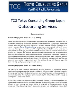 TCG Tokyo Consulting Group Japan: Outsourcing Services