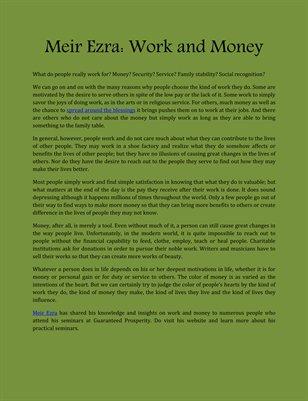 Meir Ezra: Work and Money