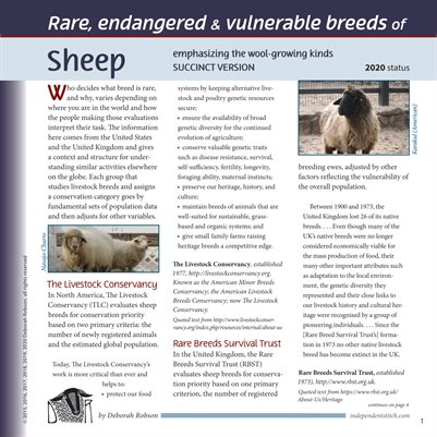 Deborah Robson's Facts for Fiber Geeks: 2020 Rare Sheep and Wools